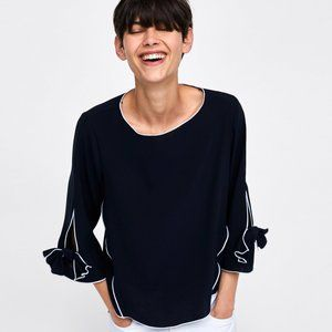 Zara   Navy Top Contrast Piping Bow Sleeve Detail